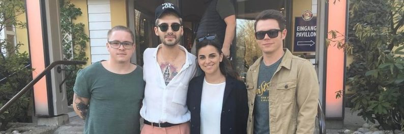 Bill Kaulitz, Gustav Schäfer e Georg Listing em Munique (30.03.2017)